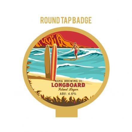 Kona Brewing Co Long board Tap Badge